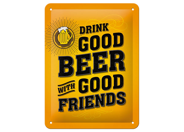 Retro metallposter Drink good beer with good friends 15x20 cm SG-103092