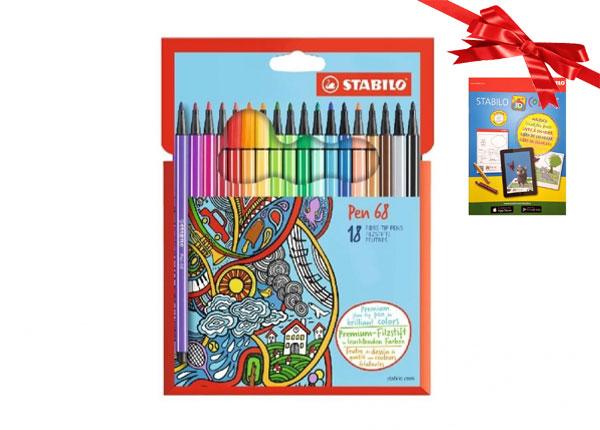 Stabilo kuitukärkikynät Pen 68, 18 väriä BB-104503