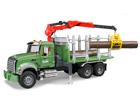 Mack metsaveoauto kraanaga ja palkidega 1:16 Bruder KL-107131