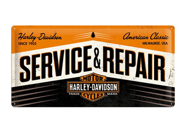 Металлический постер в ретро-стиле Harley-Davidson Service & Repair 25x50 см SG-110727