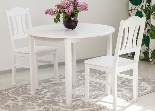 Söögitoakomplekt 100x100-139 cm + toolid Per 2tk, valge