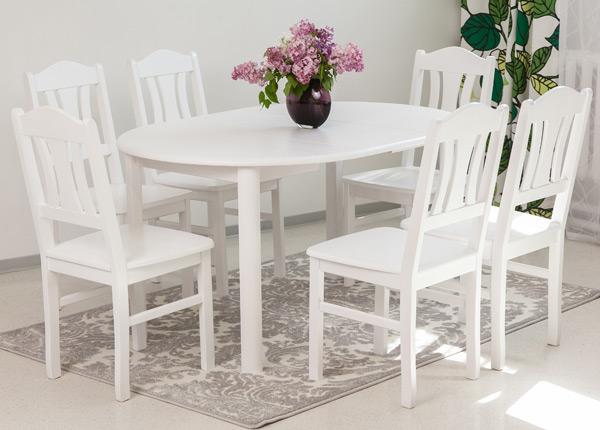 Söögitoakomplekt 100x100-139 cm + toolid Per 6tk, valge