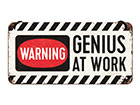 Retro metallposter Genius at Work 10x20 cm SG-118303