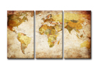 Kolmeosaline seinapilt World map 120x80 cm