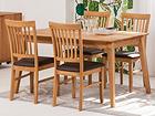 Tammi ruokapöytä GENF 140x90 cm + 4 tuolia RONNY