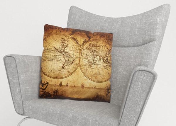 Koristetyynyliina OLD MAP 45x45 cm