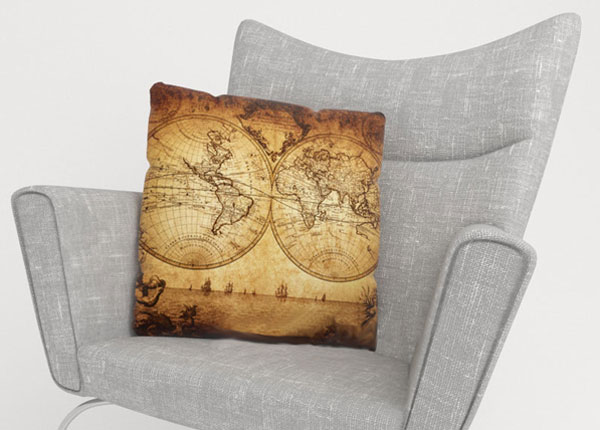 Koristetyynyliina OLD MAP 50x50 cm