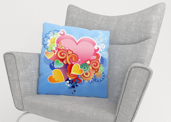 Koristetyynyliina PINK HEART 50x50 cm