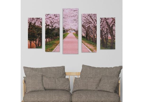 Viieosaline seinapilt Cherry Blossom Path 160x60 cm