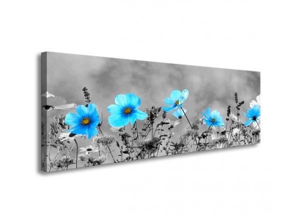 Seinapilt Blue flowers 120x40 cm