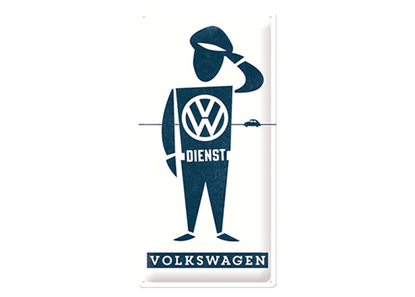Retro metallposter VW Dienst 25x50 cm