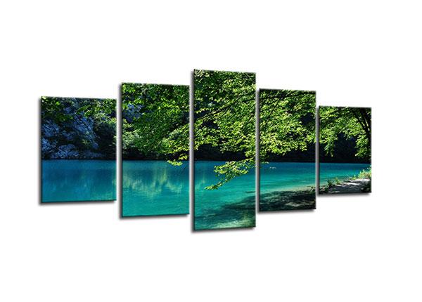 Viieosaline seinapilt Lake nature 100x50 cm