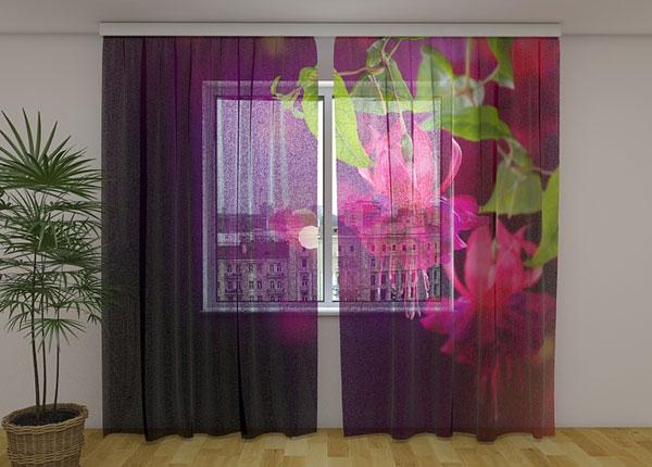 Sifonki-kuvaverho FUCHISIA FLOWERS 240x220 cm ED-131451