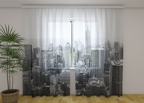 Sifonki-kuvaverho NEW YORK IN BLACK AND WHITE 240x220 cm