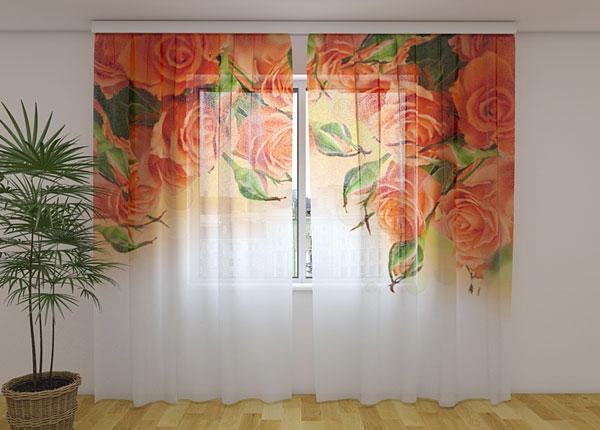 Sifonki-kuvaverho ORANGE ROSES 240x220 cm ED-131460