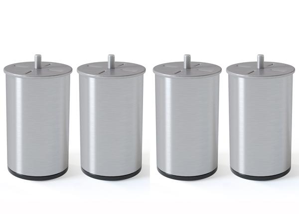 Silinterimuotoinen metallijalka, harjattu hopeansävy 10 cm