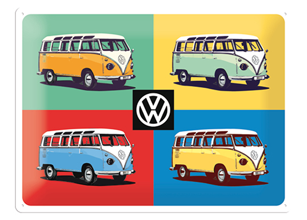 Retro metallijuliste VW Bulli Pop Art 4 autot 30x40 cm SG-132753