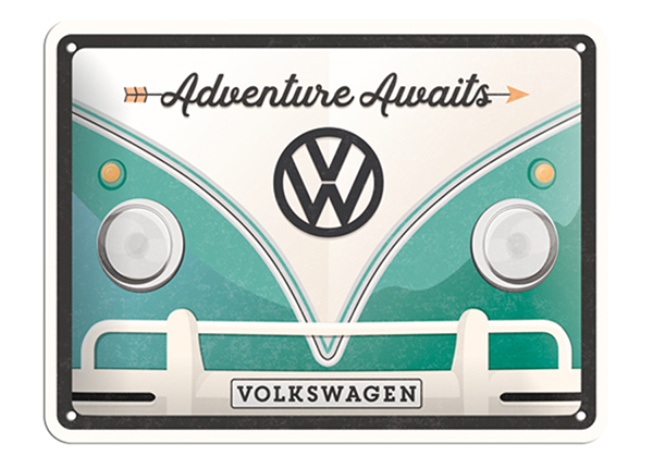 Retro metallposter VW Bulli Adventure Awaits 15x20 cm SG-132754