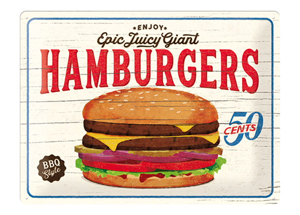 Retrotyylinen metallijuliste HAMBURGERS 30x40 cm SG-132757