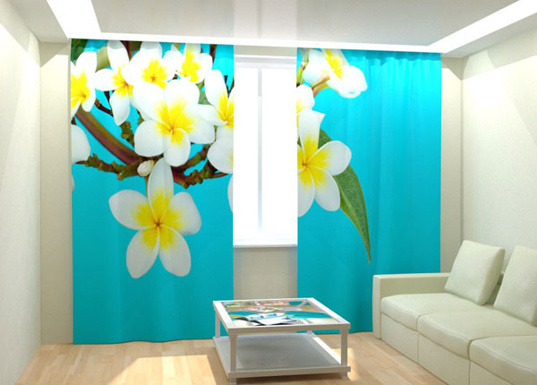 Kuvaverhot TROPICAL FLOWERS BLUE 300x260 cm AÄ-132762