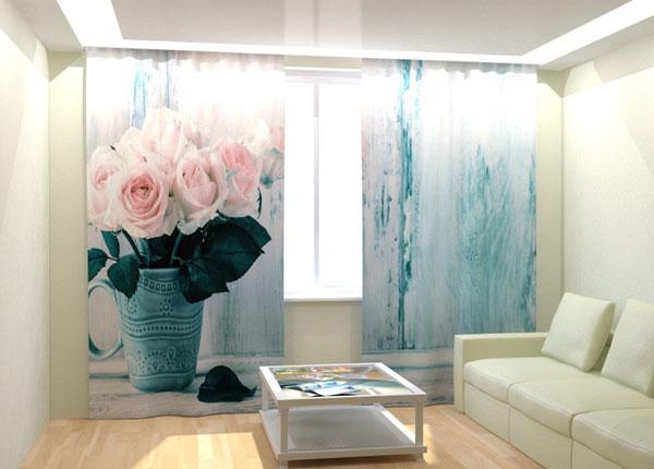Kuvaverhot WHITE ROSES 300x260 cm AÄ-133001