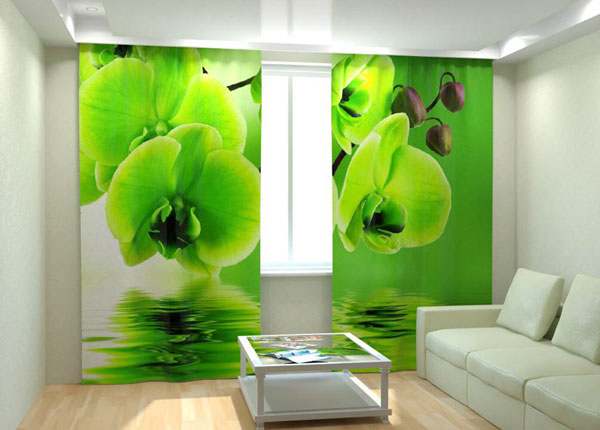 Kuvaverhot GREEN ORCHID ON THE WATER 300x260 cm AÄ-133019
