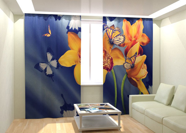 Fotokardinad Yellow Orchids and Butterflies 300x260 cm AÄ-133039