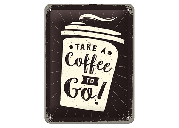 Retrotyylinen metallijuliste TAKE A COFFEE TO GO 15x20 cm SG-133798