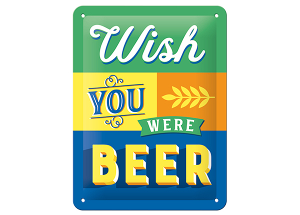 Retro metallijuliste Wish You Were Beer 15x20 cm SG-133800
