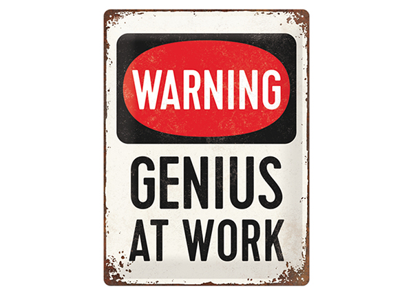 Retro metallposter Genius at Work 30x40 cm SG-133805