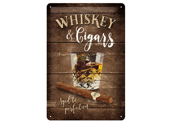 Retro metallposter Whiskey & Cigars 30x40 cm SG-133806