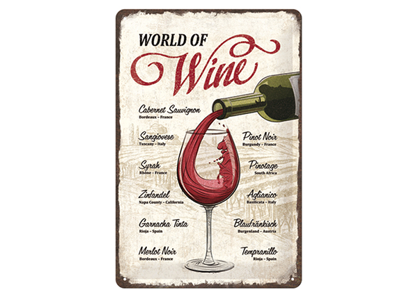 Retro metallposter World of Wine 20x30 cm SG-133818
