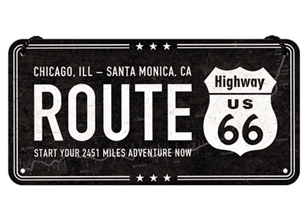 Retro metallposter Route 66 10x20 cm SG-133820