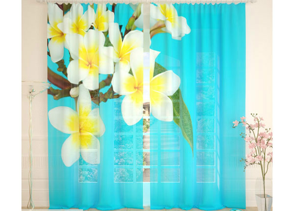 Tüllkardinad Tropical Flowers Blue 290x260 cm AÄ-134286