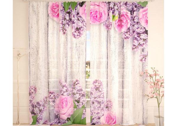 Tüllkardinad Pink Flowers 290x260 cm AÄ-134296
