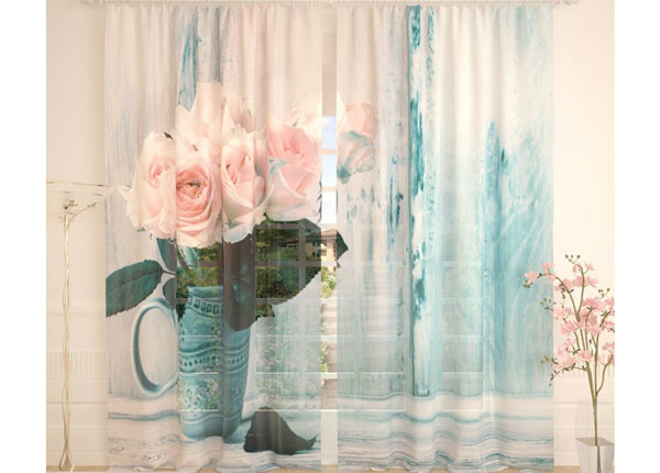 Tüllkardinad White Roses 290x260 cm AÄ-134301