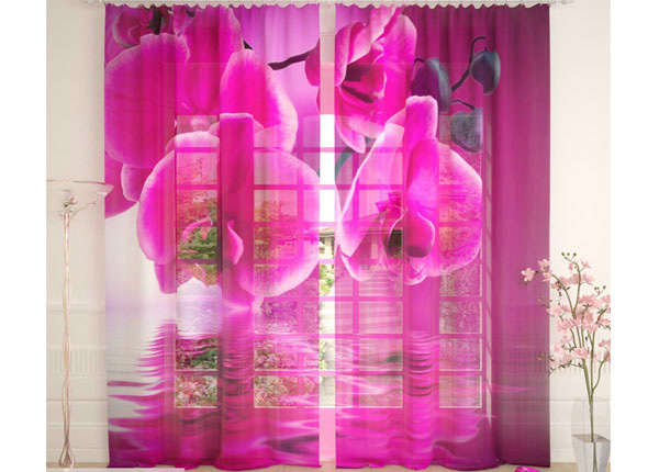 Tylliverhot PINK ORCHID ON THE WATER 290x260 cm AÄ-134305