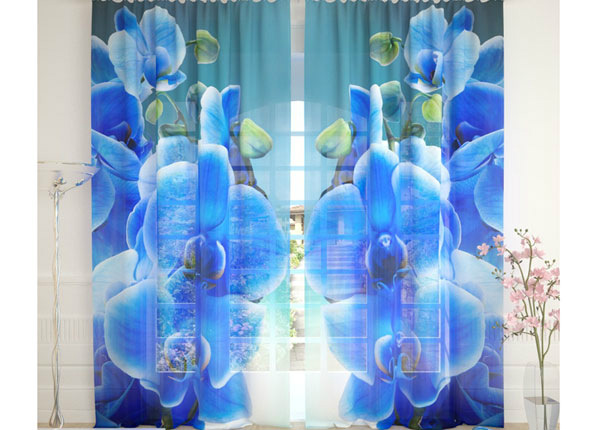 Tylliverhot BLUE ORCHID ON THE WATER 290x260 cm AÄ-134306
