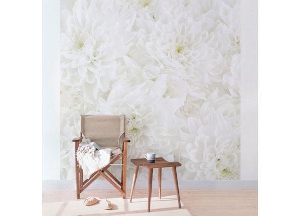 Fleece-kuvatapetti DAHLIAS SEA OF FLOWERS WHITE