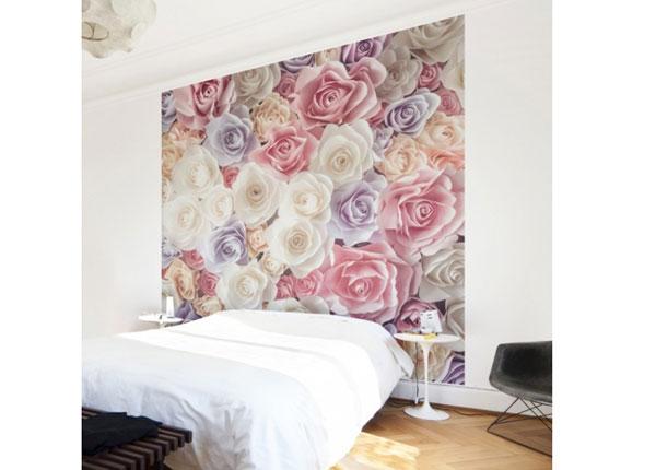 Fleece-kuvatapetti PASTEL PAPER ART ROSES
