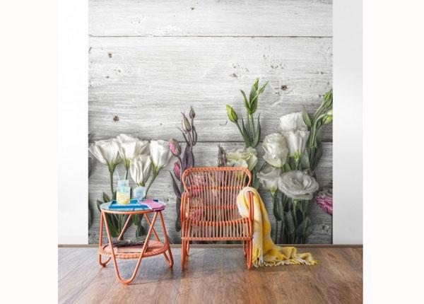 Fliis fototapeet Tulip Rose Shabby wood look