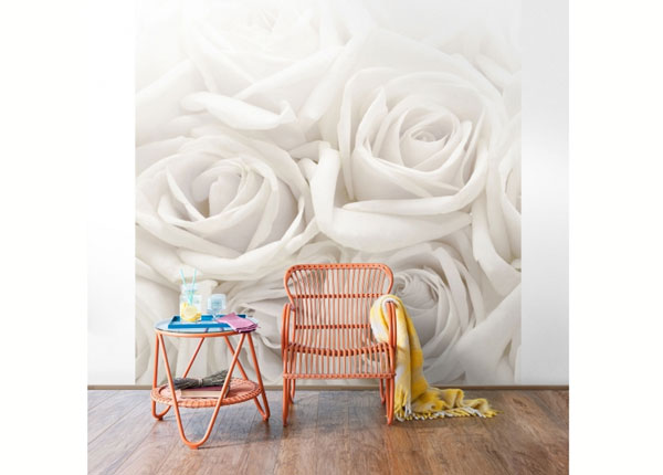 Fleece-kuvatapetti WHITE ROSES