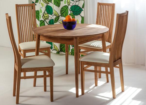 Tammi ruokapöytä SCAN Ø100 cm + 4 tuolia SANDRA EC-137977