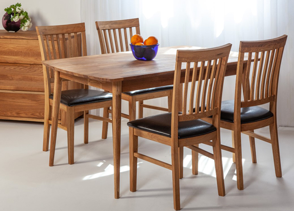 Tammi ruokapöytä Scan 140x90 cm + 4 tuolia Ron EC-138003