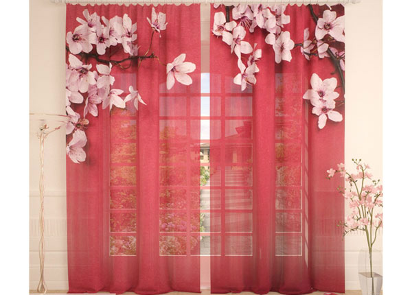 Tylliverhot CHERRY FLOWERS ON RED 290x260 cm AÄ-138223