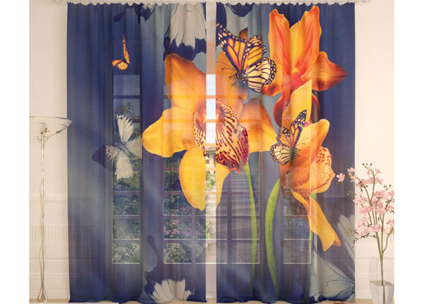 Tüllkardinad Yellow Orchids and Butterflies 290x260 cm AÄ-138227