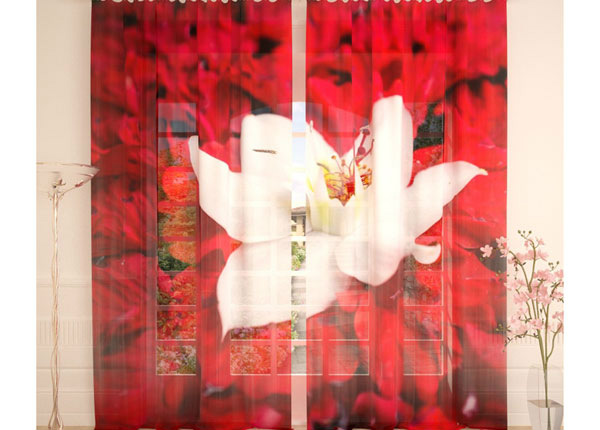 Tylliverhot WHITE FLOWER ON RED 290x260 cm AÄ-138240