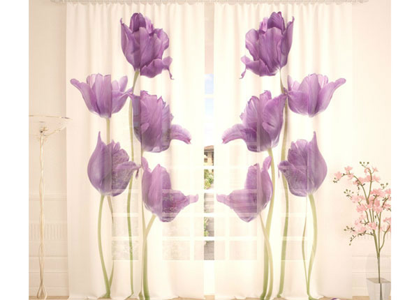 Tüllkardinad Purple Tulips 290x260 cm AÄ-138243