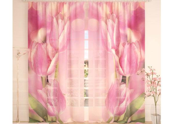 Tüllkardinad Pink Tulips 290x260 cm AÄ-138247