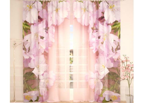 Tüllkardinad Pink Cherry Flowers 290x260 cm AÄ-138248